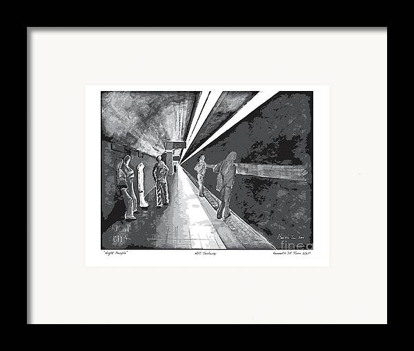 Night Framed Print featuring the painting Night People In Black And White by Kenneth De Tore
