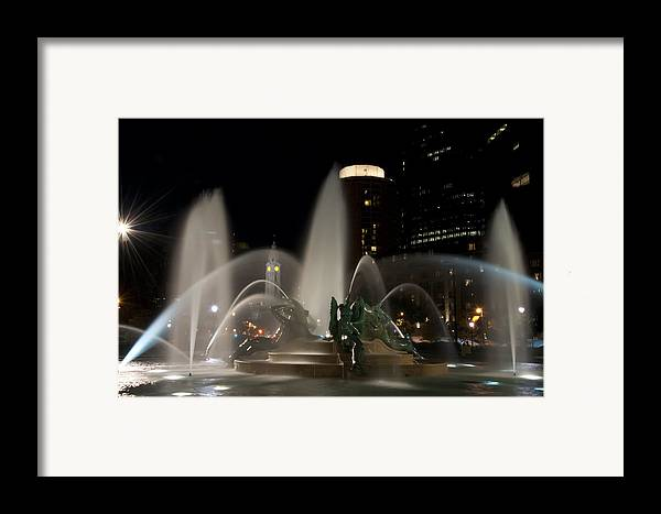 Night View Of Swann Fountain Framed Print featuring the photograph Night View Of Swann Fountain by Bill Cannon