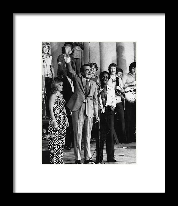 1970s Framed Print featuring the photograph Nixon Presidency. From Left Head by Everett