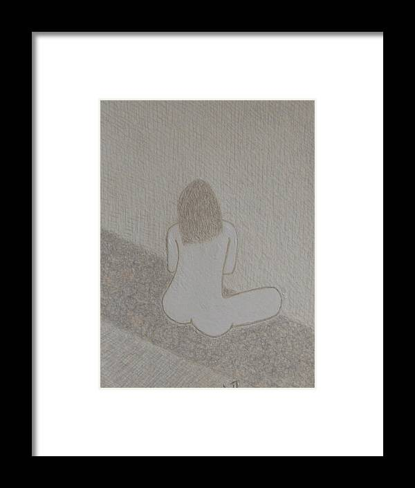 Nude Framed Print featuring the drawing No. 371 by Vijayan Kannampilly