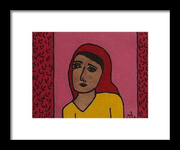 Girl Wearing A Head Scarf Framed Print featuring the painting No. 374 by Vijayan Kannampilly