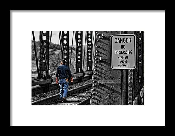 Railroad Framed Print featuring the photograph No Trespassing by David Sanchez