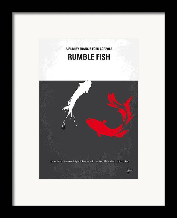 Rumble Framed Print featuring the digital art No073 My Rumble Fish Minimal Movie Poster by Chungkong Art