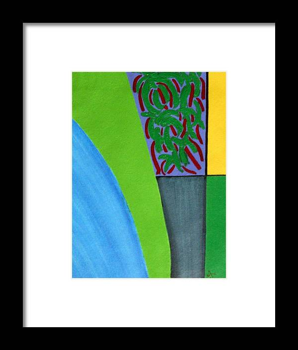 Kerala Landscape Framed Print featuring the painting No.352 Abstract Landscape Study by Vijayan Kannampilly