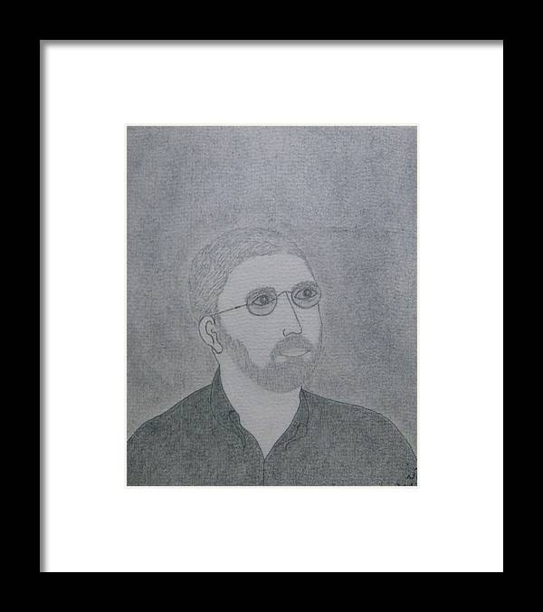 Portrait Framed Print featuring the drawing No.362 by Vijayan Kannampilly