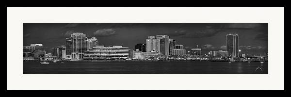 Norfolk Framed Print featuring the photograph Norfolk Waterfront Bw by Williams-Cairns Photography LLC