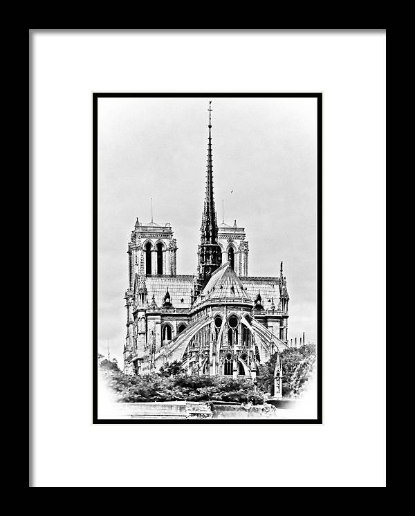 B&w Framed Print featuring the photograph Notre Dame BW Sketch by Scott Massey