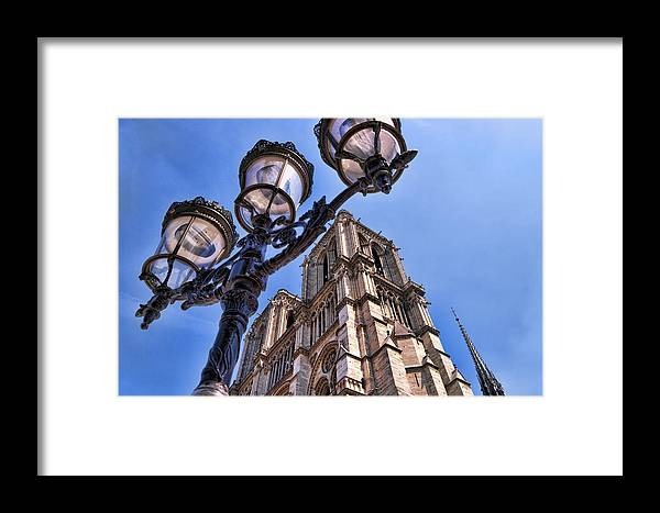 Notre Dame Cathedral Framed Print featuring the photograph Notre Dame Tower by Jon Berghoff