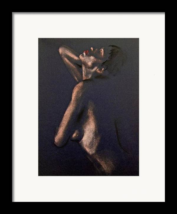 Art Framed Print featuring the painting Nude - Passion by Dorina Costras
