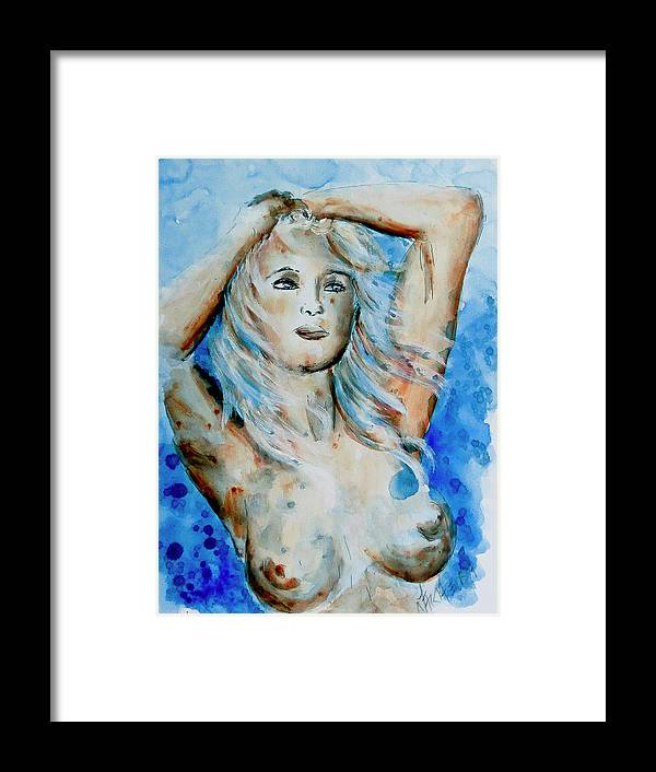 Nude Framed Print featuring the painting Nude 08 by Nik Helbig