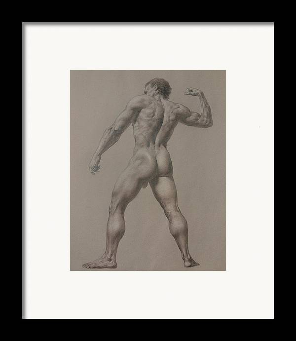 Man Framed Print featuring the drawing Nude-8 by Valeriy Mavlo