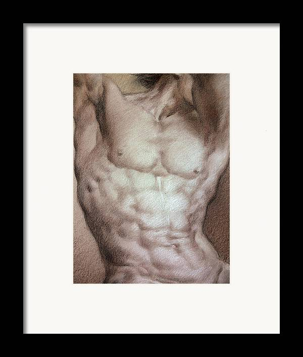 Man Framed Print featuring the drawing Nude 9 B by Valeriy Mavlo