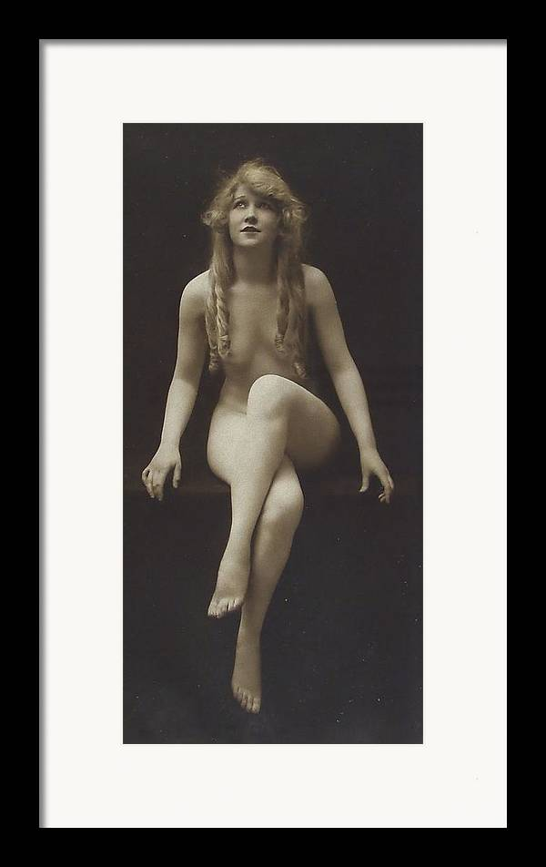 Girl Woman Female Nude Nakes Erotic Sexy Beauty Long Hair Sitting Vintage Sw Bw Black White Photograph Legs Breast Boobs Framed Print featuring the pyrography Nude Girl 1915 by Steve K
