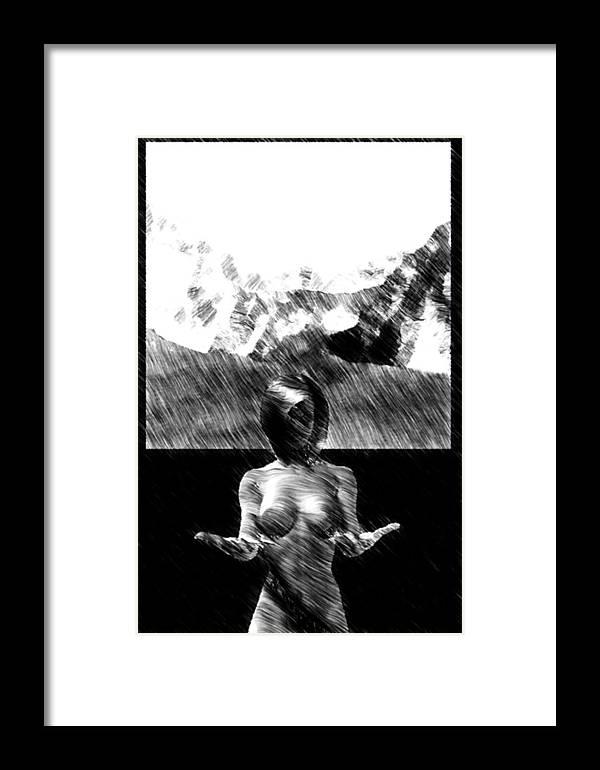 Nude Framed Print featuring the digital art Nude Landscape 02 by Peter Cochran