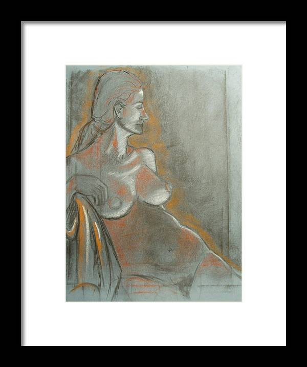 Figurative Framed Print featuring the drawing Nude Model by Aveda Allen