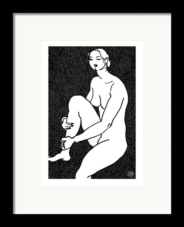 Nude Framed Print featuring the drawing Nude Sketch 16 by Leonid Petrushin