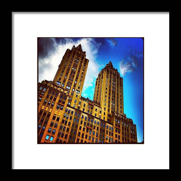 Building Framed Print featuring the photograph #nyc #clouds #centralpark #sky #building by Luke Kingma