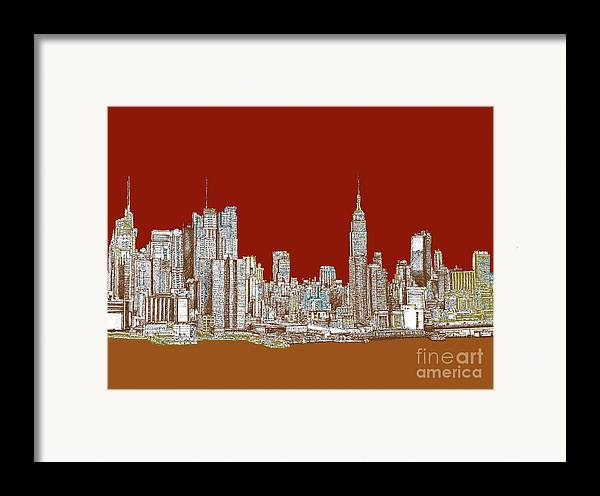 Sepia Framed Print featuring the drawing Nyc Red Sepia by Adendorff Design