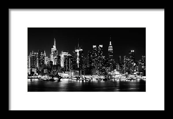 Apple Framed Print featuring the photograph Nyc Skyline June 2012 Bw by Artistic Photos
