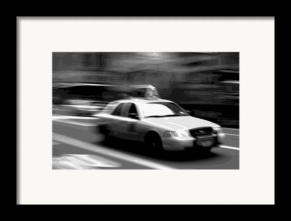 Taxi Framed Print featuring the photograph Nyc Taxi Bw16 by Scott Kelley