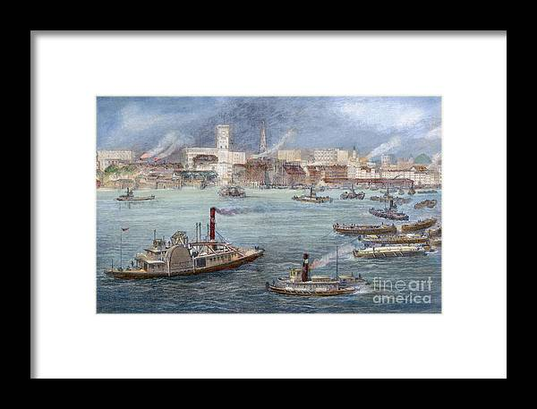 1884 Framed Print featuring the photograph Nyc: The Battery, 1884 by Granger