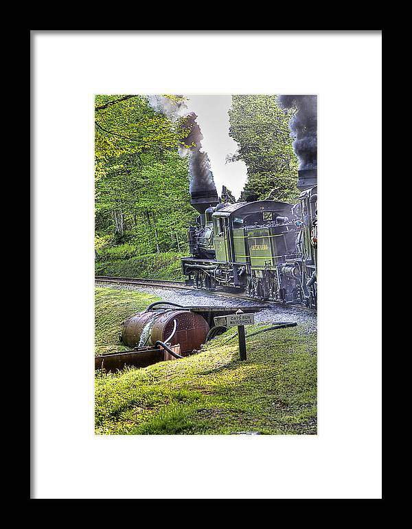 Locomotive cass Scenic Railroad west Virginia Scenic Rural Lumber Timber Cass steam Engines steam Locomotive Railroad Railway Framed Print featuring the photograph Oat's Run Water Tank by Tom Steele