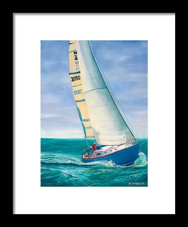 Sail Boat Framed Print featuring the painting 'obsession' Racing On The Atlantic by Pamela Ramey Tatum