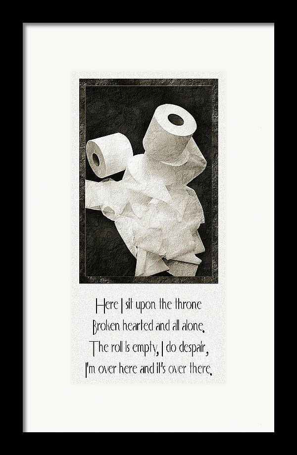 Toilet Paper Framed Print featuring the photograph Ode To The Spare Roll by Andee Design