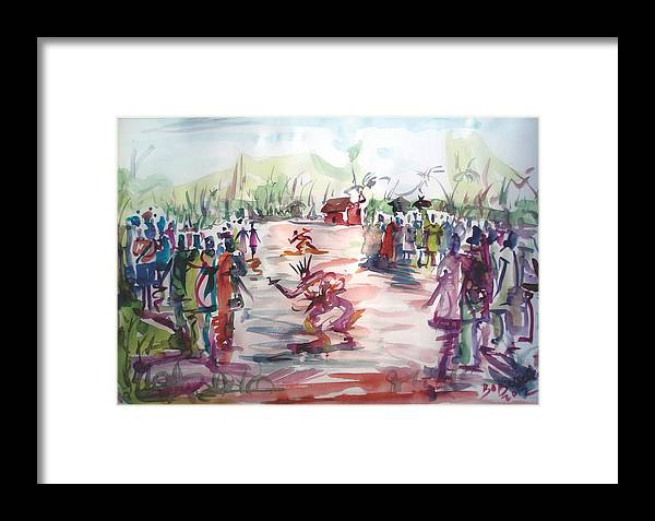 African Dance Festival Framed Print featuring the painting odio-festival-Africa by Bob Usoroh