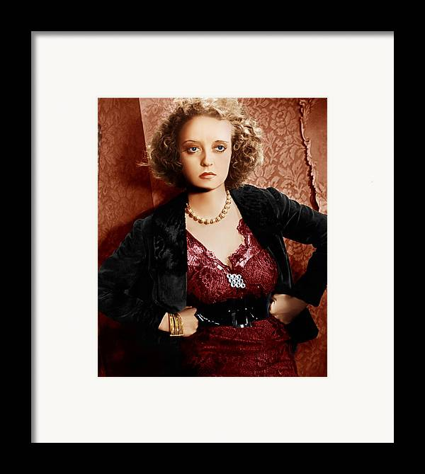 1930s Movies Framed Print featuring the photograph Of Human Bondage, Bette Davis, 1934 by Everett