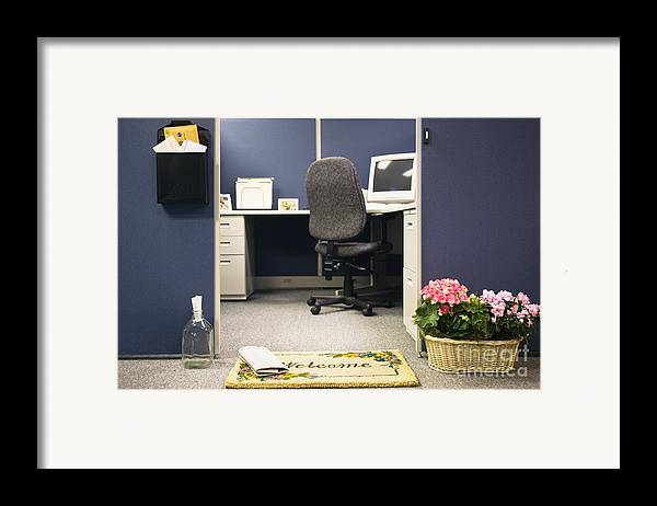 Blue Framed Print featuring the photograph Office Cubicle by Andersen Ross