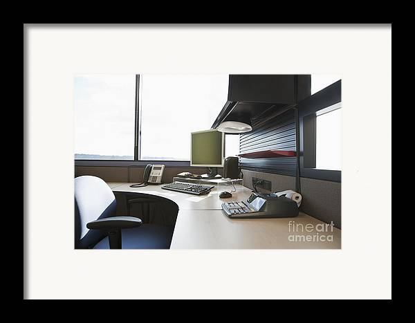 Adding Machine Framed Print featuring the photograph Office Work Station by Jetta Productions, Inc