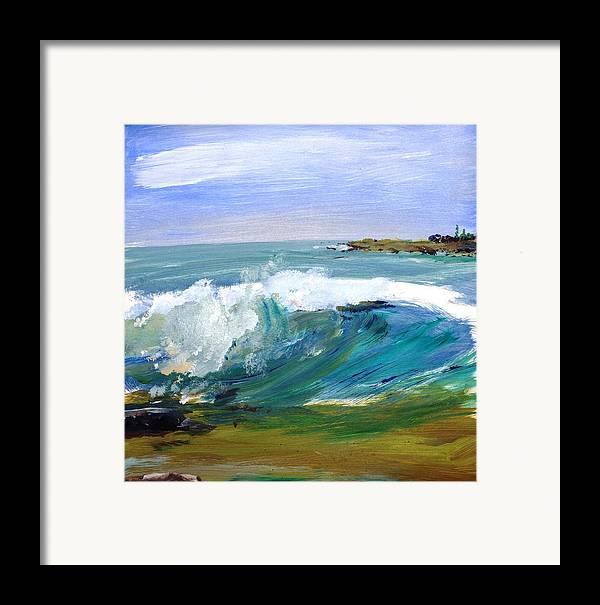 Ogunquit Beach Framed Print featuring the painting Ogunquit Beach Wave by Scott Nelson