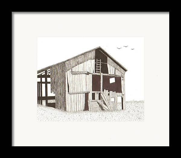 Pen And Ink Framed Print featuring the drawing Ohio Barn by Pat Price