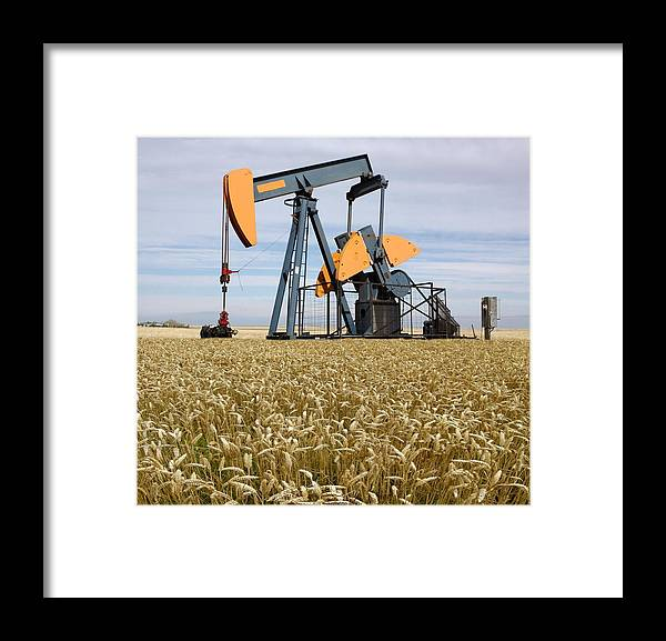 Triticum Framed Print featuring the photograph Oil Pump In A Wheat Field by Tony Craddock