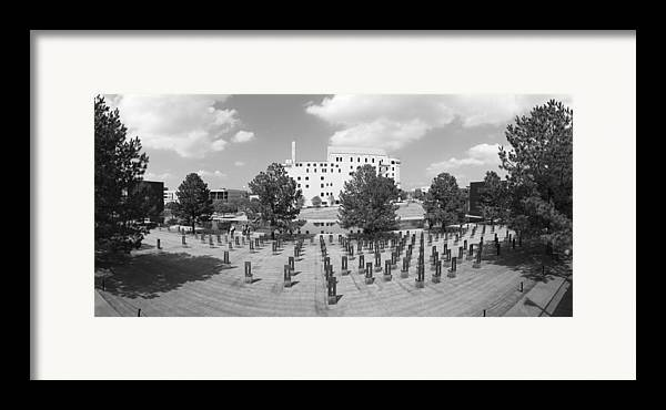 National Framed Print featuring the photograph Oklahoma City National Memorial Black And White by Ricky Barnard