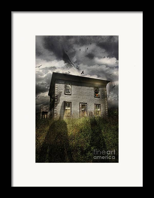 Aged Framed Print featuring the photograph Old Ababdoned House With Flying Ghosts by Sandra Cunningham