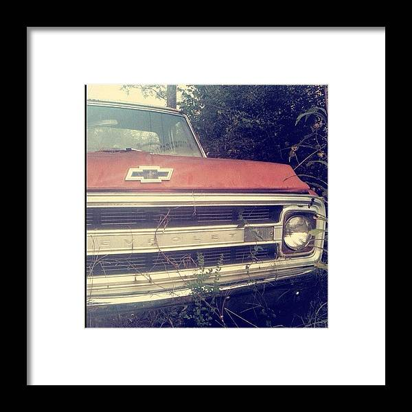 Antique Framed Print featuring the photograph #old #antique #truck #chevrolet #car by Seth Stringer