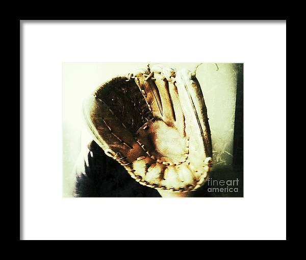 Baseball Glove Framed Print featuring the photograph Old Baseball Glove by Ruby Hummersmith