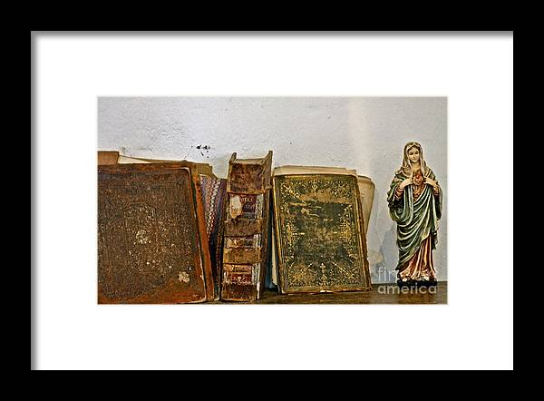 Mother Mary Framed Print featuring the photograph Scenes On a Shelf by Lori Leigh