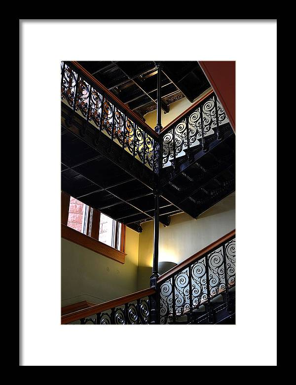 Old Framed Print featuring the photograph Old Courthouse Stairway by Angel Chovanec