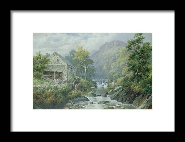 River; Wnion; Watermill; Wheel; Landscape; Mountains; Rocks; Dolgellau Framed Print featuring the painting Old Disused Mill Dolgelly by William Henry Mander