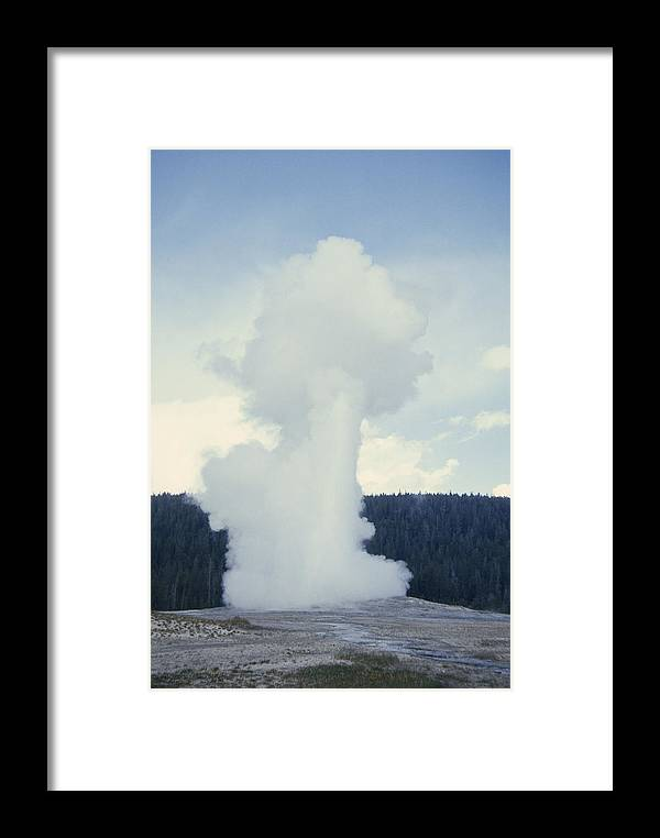 Color Image Framed Print featuring the photograph Old Faithful Geyser Erupts About Once by Gordon Wiltsie