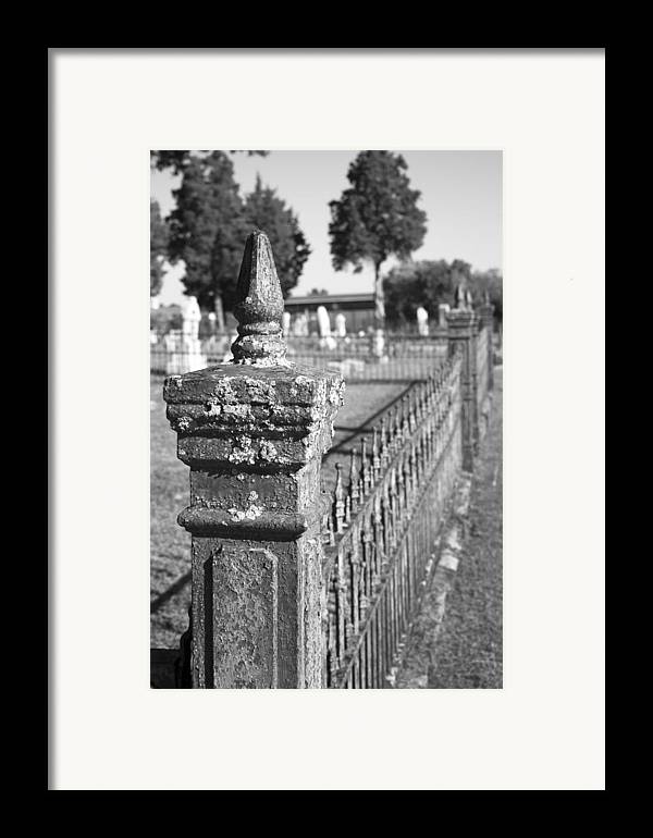 Graveyard Framed Print featuring the photograph Old Graveyard Fence In Black And White by Kathy Clark