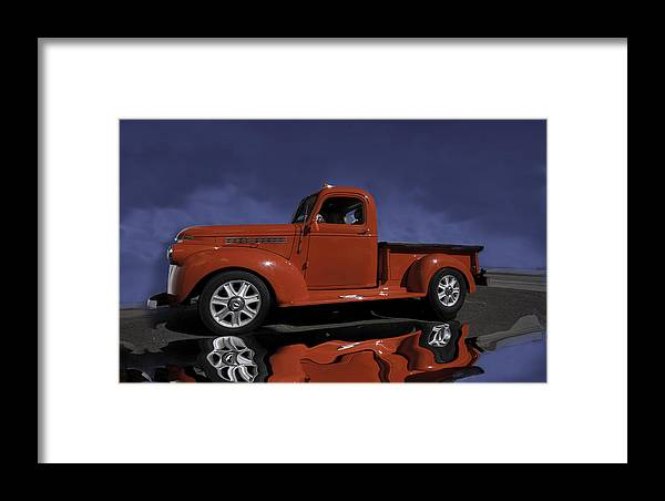 Chevy Framed Print featuring the photograph Old Red Truck by Judy Deist