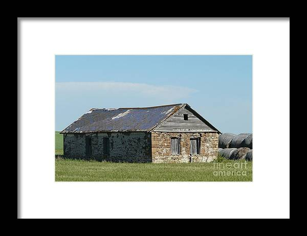 Rock Framed Print featuring the photograph old rock house in ND. by Bobbylee Farrier