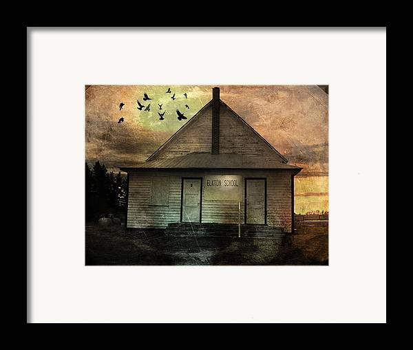 Building Framed Print featuring the mixed media Old School by Janet Kearns