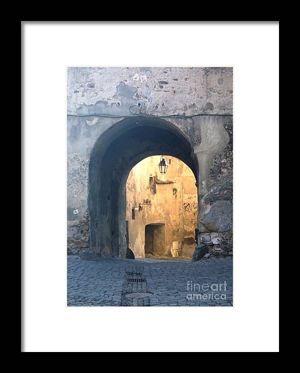 Sighisoara Framed Print featuring the photograph Old town gate 1 by Amalia Suruceanu