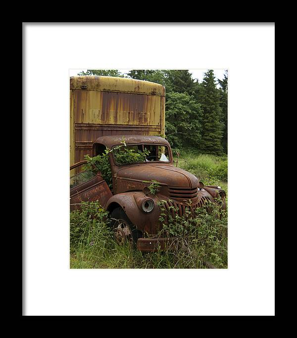 Old Truck In Rain Forest Framed Print featuring the photograph Old Truck In Rain Forest by Gary Langley
