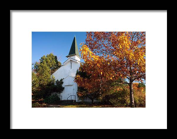 Church Framed Print featuring the photograph Old White Church In Autumn by Stacey Lynn Payne